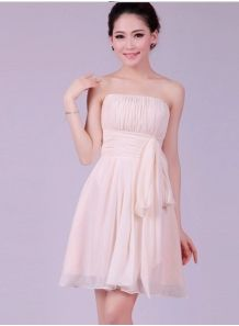 MANON - A-line Knee length Chiffon Strapless Chinese Cheap Wedding Party Dress