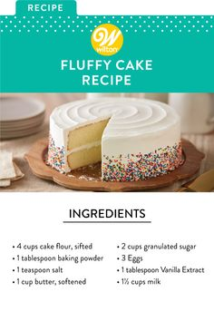 <br> Airy, moist yellow cake is a favorite of every baker. This classic recipe is sure to be your go-to any time you want to bake an easy, delicious homemade cake to please a crowd. Easy Homemade Cake, Homemade Cake Recipes, Homemade Frosting, Food Cakes, Cupcake Cakes, Easy Vanilla Cake Recipe, Best Vanilla Cake Recipe For Stacking, Moist Fruit Cake Recipe, Moist Vanilla Cake