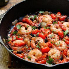 Yum's Up! for Shrimp Puttanesca recipe prepared in a Lodge Cast Iron Skillet!
