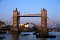 London's Tower Bridge is one of the most recognizable bridges in the world. Its Victorian Gothic style stems from a law that forced the designers to create a structure that would be in harmony with the nearby Tower of London.