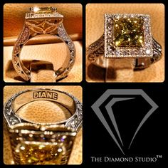 My newest vintage-inspired ring was designed to spotlight the beauty of this rare canary diamond. The vibrant yellow colouring is enhanced by the yellow gold used around the halo and gallery. Photos alone don't do enough justice to the fine detail work and overall sparkle, so if you have an Instagram account, follow Diamondboi to see the video I made featuring this ring. Diane is one lucky lady! This is what I do. #diamonds #vintage #engagementring #weddings #jewelry #jewellery…