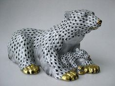 Herend Hand Painted Porcelain Figurine Polar Bear w Baby Black Fishnet Gold Accents.