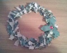 Holly Christmas fabric wreath