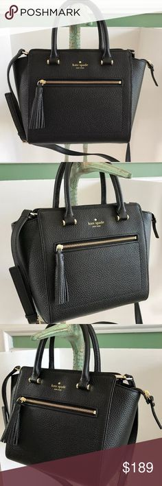 """kate spade Chester Street Small Allyn Satchel Bag kate spade  Chester Street Small Allyn Leather Handbag Crossbody Bag Black Brand New with Tags! Style# WKRU4322  Details: pebbled leather, zip top closure, polished gold-tone hardware, top handles with 4.5"""" drop,  detachable and adjustable longer shoulder or crossbody strap with 21"""" drop Approximate measurements: 13"""" top & 9.5"""" bottom(L)/ 9"""" tallest(H)/ 5"""" widest(W)  COLOR: Adventure Blue / Ocean Blue Price firm! NO TRADE! RETAIL PRICE…"""