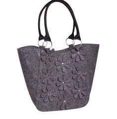 SALE Grey felt bag Felted purse Women's felt handbag Diaper bag Felted messenger bag Flower bag Overnight bag Everyday bag Eco friendly bag by volaris on Etsy