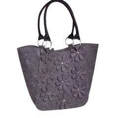 SALE Grey felt bag Felted purse Women's felt handbag Diaper bag Felted messenger bag Flower bag Overnight bag Everyday bag Eco friendly bag by volaris on Etsy