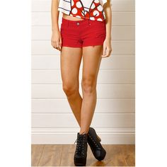 Red Colored Distressed Denim Shorts