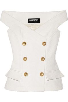 Shop on-sale Balmain Off-the-shoulder jacquard top. Browse other discount designer Tops & more on The Most Fashionable Fashion Outlet, THE OUTNET. Designer Clothes Sale, Discount Designer Clothes, Church Fashion, Stage Outfits, Dress Suits, Preppy Style, Military Fashion, Blouse Designs, Ideias Fashion