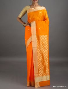 Veda gold Shell Designed Mercerized #ChanderiSilkCottonSaree