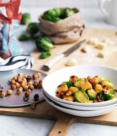 Australian Gourmet Traveller recipe for gnocchi with Brussels sprouts, pancetta and hazelnuts. Hazelnut Recipes, Chickpea Recipes, Steak Recipes, Cod Recipes, Oven Recipes, Noodle Recipes, Sausage Recipes, Salmon Recipes, Potato Recipes