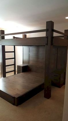 Custom Loft Bed with queen platform bed. The loft is a full XL with a queen platform bed below. The bed features a paneled headboard and two integrate… Adult Bunk Beds, Bunk Bed Rooms, Cool Bunk Beds, Bunk Beds With Stairs, Kids Bunk Beds, Bedrooms, Bunk Bed Plans, Murphy Bed Plans, Loft Spaces