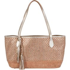 SMALL CORK with LEATHER TRIM TOTE BAG gold