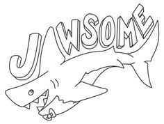 """""""Jawsome""""  The best adjective for sharks. Downloads as a PDF. Use pattern transfer paper to trace design for hand-stitching.  -  UTH6647 (Hand Embroidery)  00501414-073113-2101-11"""