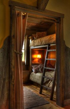 Rustic Cabin Bedroom - love the double bed perfect for a family vacation.