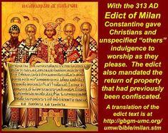 Septimo evento El edicto de Constantino Fecha (313 d.C) Lugar: Roma Constantino fue el primer emperador Cristiano que puso fin a todos los intentos encontra de destruir el cristianismo,permitio que la adoracion fuera legal y que toda persecucion terminara para no voverse a renovar mientras duro el imperio Romano