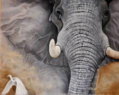 Huile sur toile 48x60 pouces Elephant, Animals, Oil On Canvas, Drawings, Animales, Animaux, Elephants, Animal, Animais