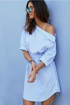 MOARCHO 2017 Fashion one shoulder Blue striped shirt dress Sexy side split Elegant half sleeve waistband Casual beach dresses Striped Short Dresses, Trendy Dresses, Striped Dress, Sexy Dresses, Casual Dresses, Summer Dresses, Beach Dresses, Elegant Dresses, Blue Dresses