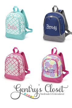 Monogrammed Preschool Backpack for boy or girl. by GentrysCloset, $22.00