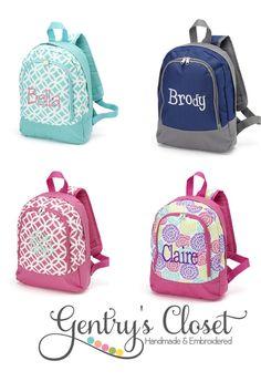 Monogrammed Preschool Backpack for boy or girl. by GentrysCloset, $22.00