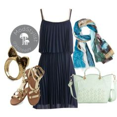 A flowy navy frock, gold gladiator sandals, printed scarf, oh my! All of the elements of an outfit for a dinner out and stroll afterwards.