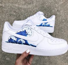 Air Force One Shoes, Nike Air Force Ones, White Nike Shoes, Nike Air Shoes, Nike Footwear, Custom Painted Shoes, Custom Shoes, Custom Sneakers, Hype Shoes