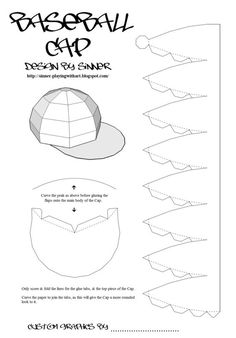 Print, Cut-out & build your own customisable baseball cap. You can customise digitally or by hand. If you do a digital custom & would like it fe.Paper Baseball Cap or any hat that requires a dome shape!Quite similar template shape to bott of acorn bo 3d Paper, Paper Toys, Paper Crafts, Hat Template, Diy Gift Box, Print And Cut, Paper Cutting, Crafts For Kids, Card Making