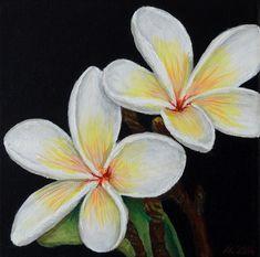 White Plumeria Painting - Acrylic paint on canvas by Andrej Kaprinay at Coroflot.com