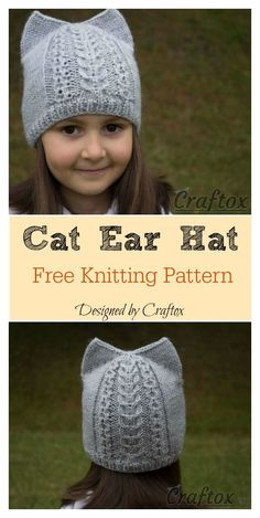 Cat Ear Hat Free Knitting Pattern Cat Ear Hat Free Knitting Pattern Source by mahnaazmaj Knitted Hats Kids, Knitted Cat, Baby Hats Knitting, Kids Hats, Baby Knitting Patterns, Loom Knitting, Free Knitting, Crochet Patterns, Hat Patterns