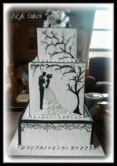 Black and White Blossom Pearl Square Wedding Cake by Keyk Cakes. Great silhouette illustration theme for a black and white cake. Extravagant Wedding Cakes, Beautiful Wedding Cakes, Gorgeous Cakes, Pretty Cakes, Amazing Cakes, Beautiful Bride, Black White Cakes, Black And White Wedding Cake, Square Wedding Cakes