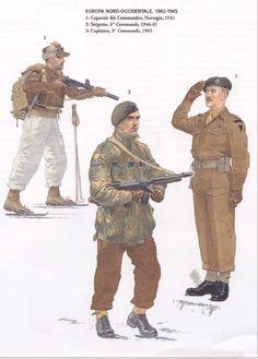 BRITISH ARMY - Europa Nordoccidentale 1943-45 - 1. Caporale dei Commandos, Norvegia 1943 - 2. Sergente, 6° Commando, 1944-45 - 3. Capitano, 3° Commando, 1945