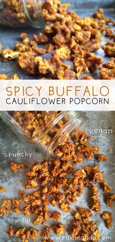 Spicy Buffalo Cauliflower Popcorn. Easy raw vegan spicy buffalo cauliflower popcorn recipe. Use a dehydrator or oven at it's lowest temperature to make a healthy crunchy savory snack.