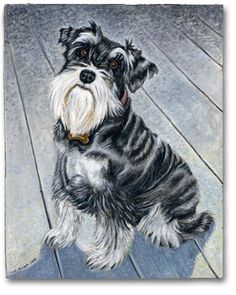 """""""The portraits that you painted of my beloved Mini Schnauzers are some of my most favorite and prized positions. You both were so professional and easy to work with. You made me feel very important and that I was a valued client. You listened and delivered exactly what I had in mind only better! My sincere thanks for the experience.""""— Robin Clark and Cody and Cassidy Clark, Greensboro, NC  Custom Dog Portrait: Cassidy  © Todd Belcher/Jimmydog Design Group. Pet portraits & pet paintings."""