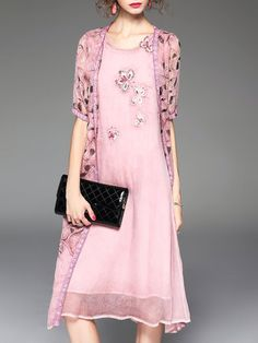 Pink Floral Print Resort Two Piece Midi Dress