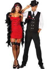 ruby red hot flapper and gangster mole couples costumes - Halloween Mobster Costumes
