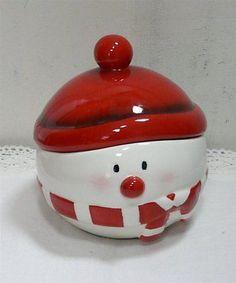 Weihnachten Keramik Dose Bonboniere SCHNEEMANN mit Deckel