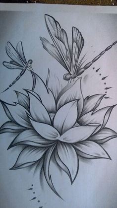 Flower Art Drawing, Pencil Drawings Of Flowers, Flower Sketches, Art Drawings Sketches Simple, Pencil Art Drawings, Easy Drawings, Simbolos Tattoo, Body Art Tattoos, Dragonfly Tattoo
