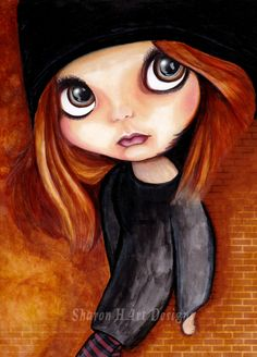 Big eye art mixed media blythe doll painting by SharonHArtDesigns