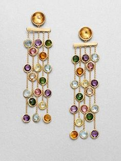 Marco Bicego - Mini Jaipur Semi-Precious Multi-Stone & Yellow Gold Five-Strand Drop Earrings 18k Gold Earrings, Gold Jewelry, Beaded Earrings, Jewelry Accessories, Jewelry Design, Jewellery, Schmuck Design, Earrings Handmade, Marco Bicego