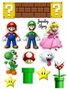 Topper cake Super Mario Bros, Mario Bros Cake, Super Mario Birthday, Mario Birthday Party, Super Mario Party, Super Mario Brothers, Bolo Do Mario, Bolo Super Mario, Image Mario