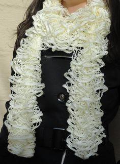 Cream Ruffle Scarf, Hand Knitted