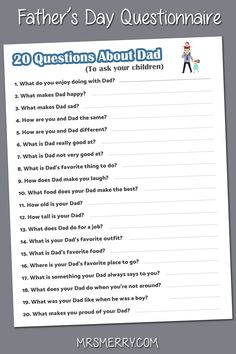 Print out our free 20 Questions About Mom questionnaire and ask your kids what they think of Dad! A great & free gift for Dad. Fathers Day Crafts, Happy Fathers Day, Fathers Day Questionnaire, Father's Day Games, Daddy Day Care, Homemade Gifts For Dad, Kids Questions, Father's Day Printable, Father's Day Activities