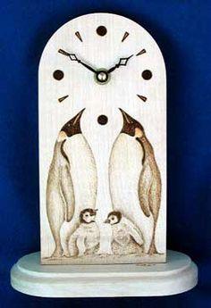 Penguin pyrography | Design : Emperor Penguins Mantle Clock
