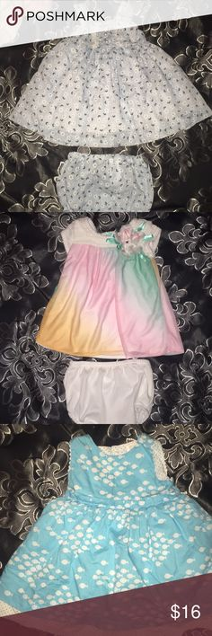 """💕 4 adorable babygirl dresses✨ These are the dresses I call """"babydoll dresses"""" because when I dressed my daughter in them She looked exactly like a babydoll. All are 0-3 months with no stains. The first dress is Laura Ashley it is brand new never worn without tags, the seahorse and fishy dress is from carters,  and the adorable multi color dress is from rare editions  (Dillard's). Selling all together Rare Editions Dresses Casual"""