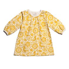 Aurora Baby Dress - Birds & Flowers Yellow $38