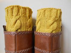 Tricoté main Boot Manchettes Jambières jaune moutarde