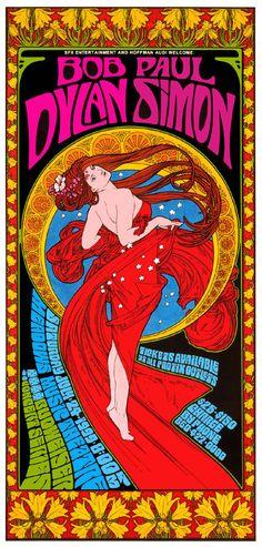ボブ ・ ディラン & Paul Simon のアール ヌーボー様式のサイケデリックなコンサート ポスター