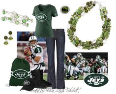 "New York Jets  Featuring: ""Olivia"" necklace and earrings. ""Olive"" ring ""Kelly"" bracelets"