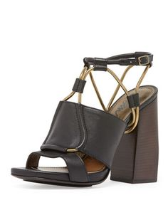 Leather Chain-Strap Block-Heel Sandal, Black by Lanvin at Neiman Marcus.