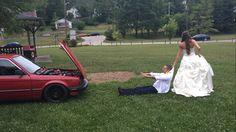 Car enthusiast wedding photo BMW e30  Turbo S50 Bimmer 325es Just Married