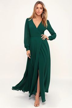 Glam Green Dress - Maxi Dress - Wrap Dress - Long Sleeve Dress Emerald Green Bridesmaid Dresses, Winter Bridesmaid Dresses, Bridesmaid Dresses With Sleeves, Emerald Green Dresses, Backless Maxi Dresses, Maxi Robes, Maxi Wrap Dress, Maxi Dress With Sleeves, Maxi Skirts